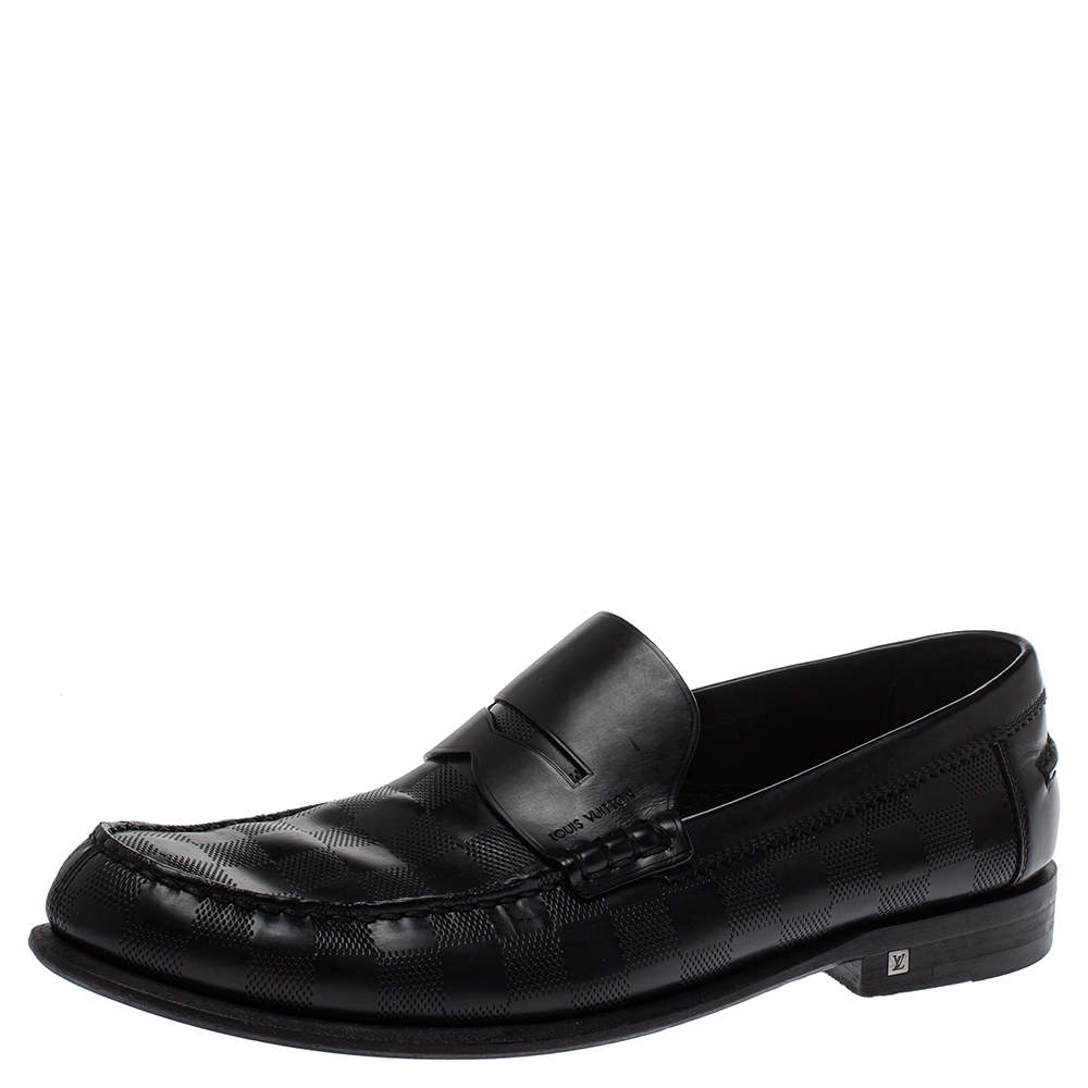 Louis Vuitton Black Damier Embossed Santiago Loafers Size 41