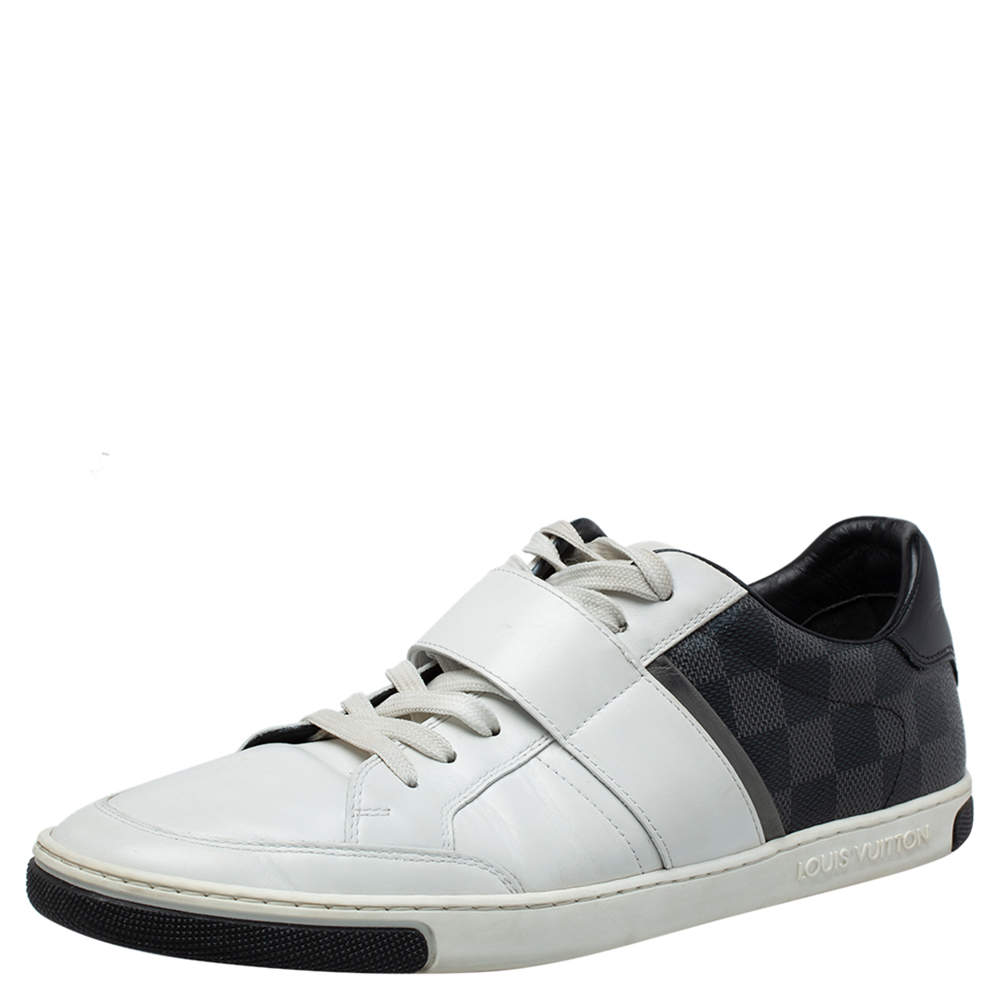 Louis Vuitton White Leather and Damier Graphite Canvas Low Top Sneakers Size 40.5
