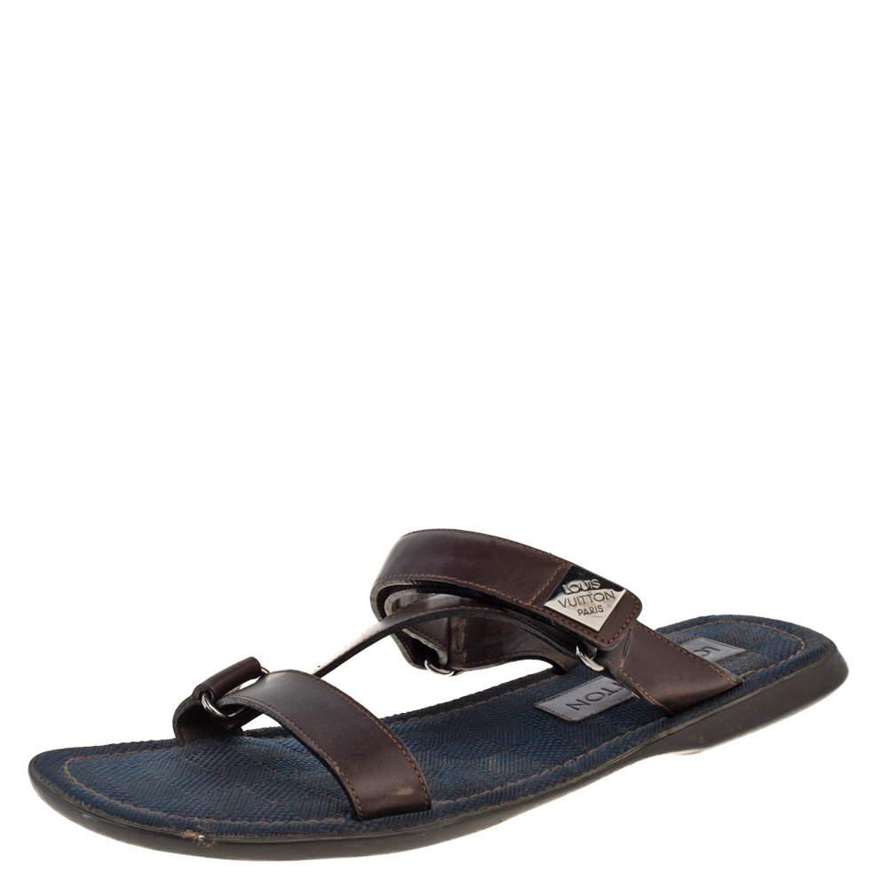 Louis Vuitton Brown Leather Sandals  Size 44