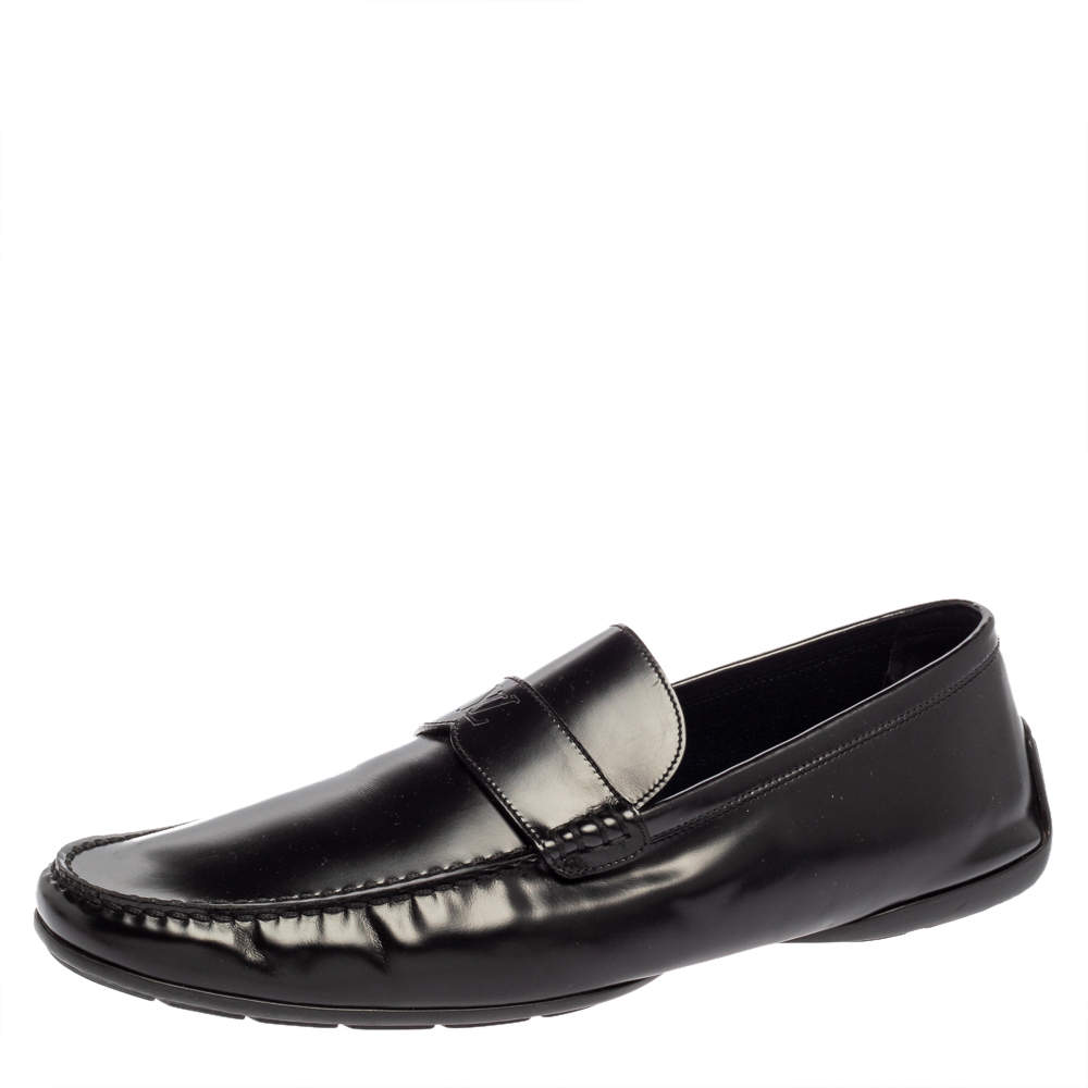 Louis Vuitton Black Leather Slip On Loafers Size 45
