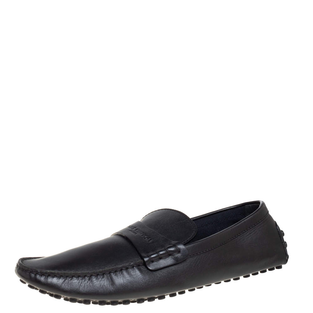 Louis Vuitton Black Leather Driving Loafers Size 45