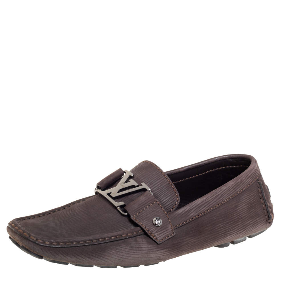 Louis Vuitton Brown Epi Leather Monte Carlo Slip On Loafers Size 41