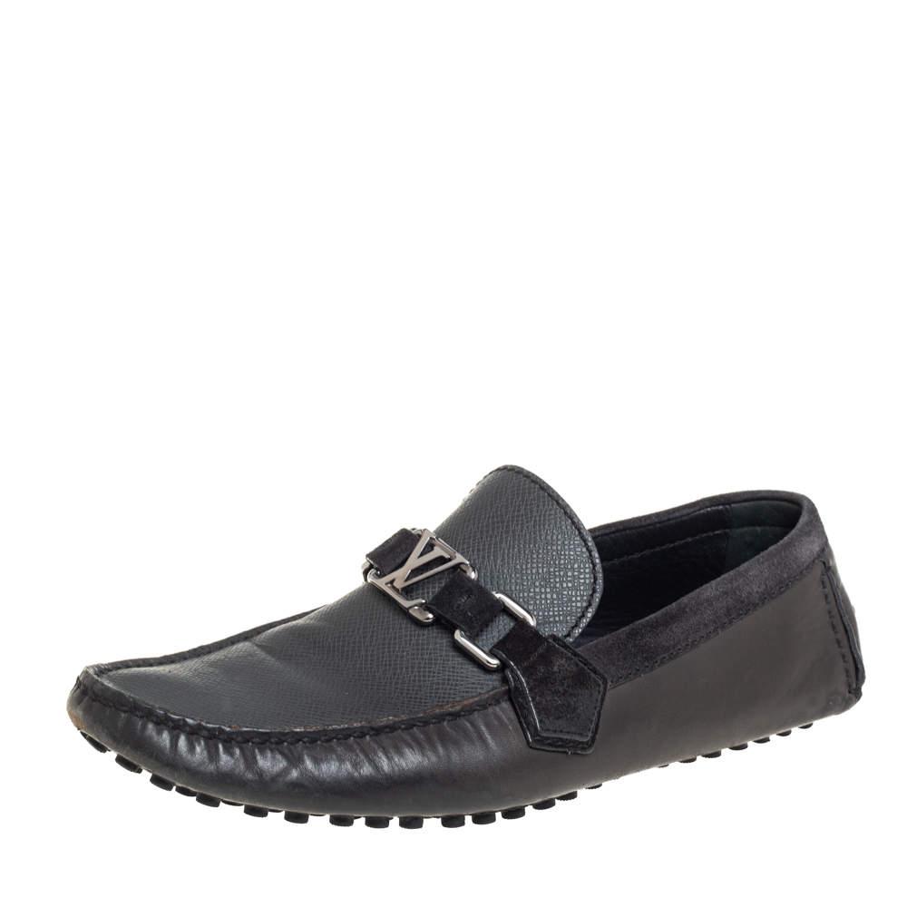 Louis Vuitton Dark Grey/Black Leather And Suede Hockenheim Slip On Loafers Size 40.5