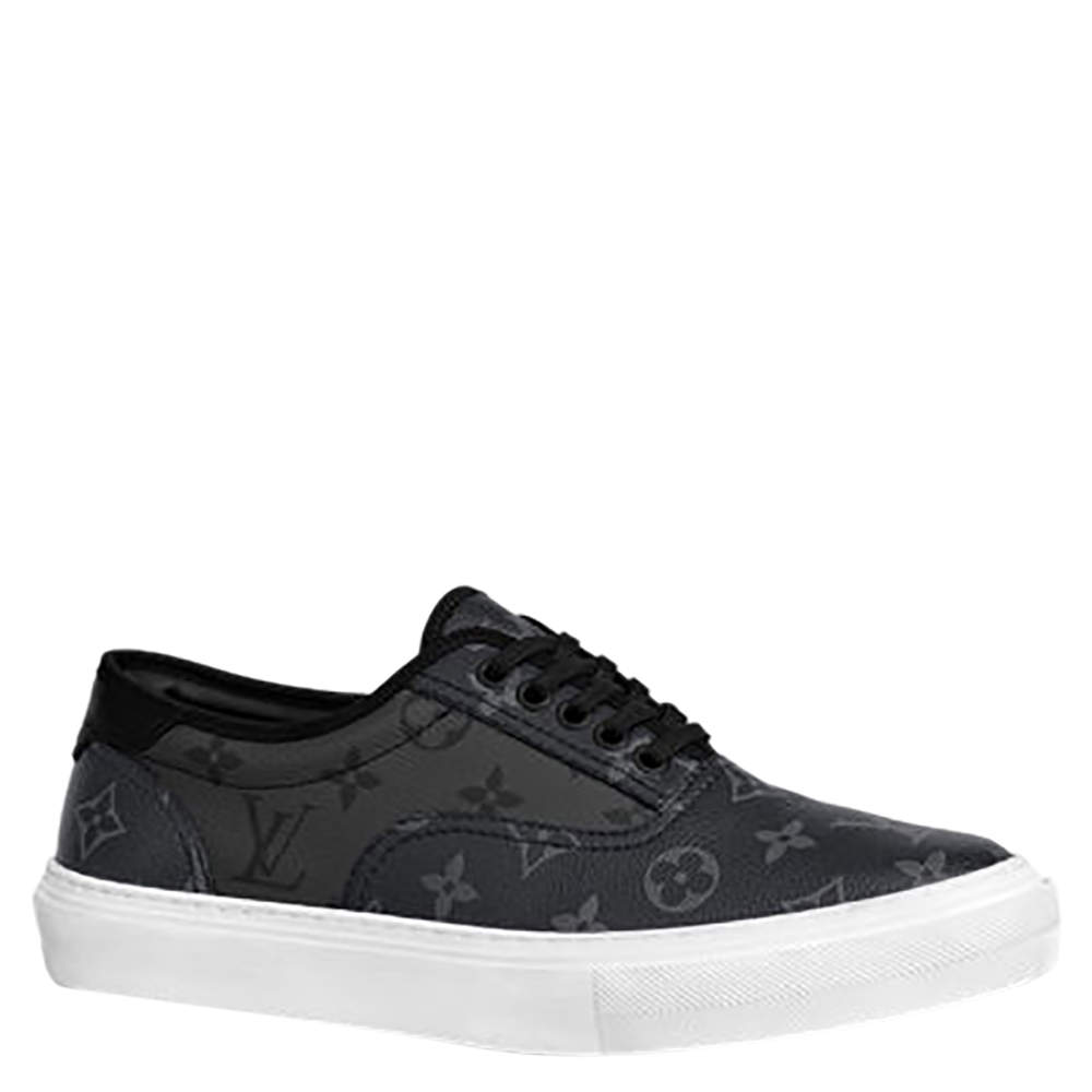 Louis Vuitton Black Monogram Canvas Trocadero Eclipse Low top Sneakers Size US 8