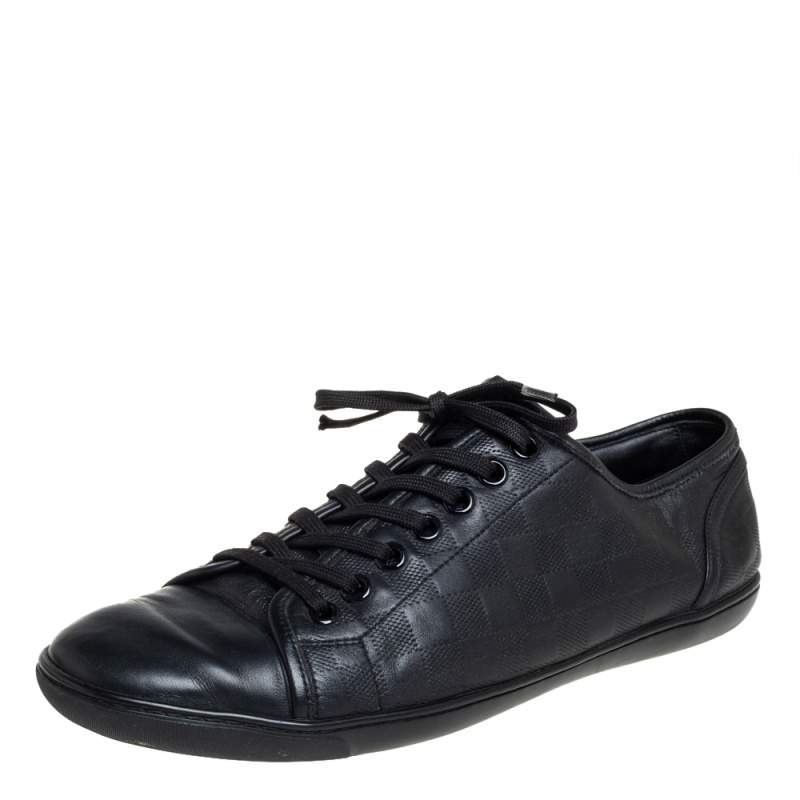 Louis Vuitton Black Leather And Damier Canvas Low Top Sneakers Size 44