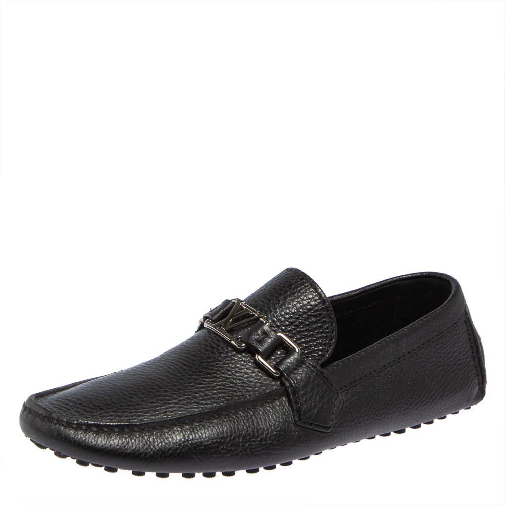 Louis Vuitton Black Leather Hockenheim Driver Loafers Size 41.5