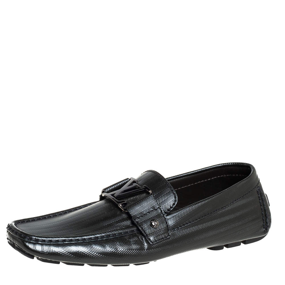 Louis Vuitton Black Textured Leather Monte Carlo Slip On Loafers Size 41.5