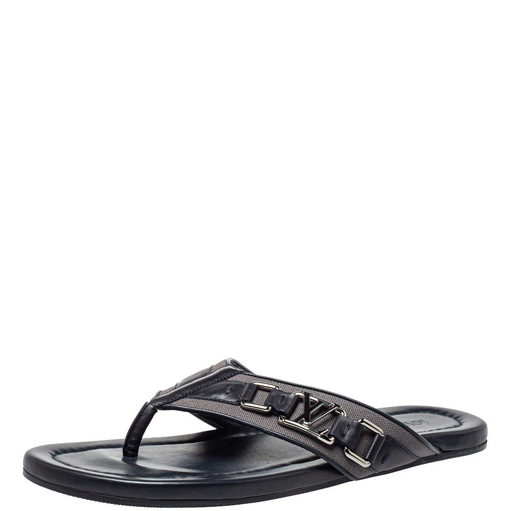 Louis Vuitton Dark Blue Leather And Canvas Hamptons Thong Sandals Size 41