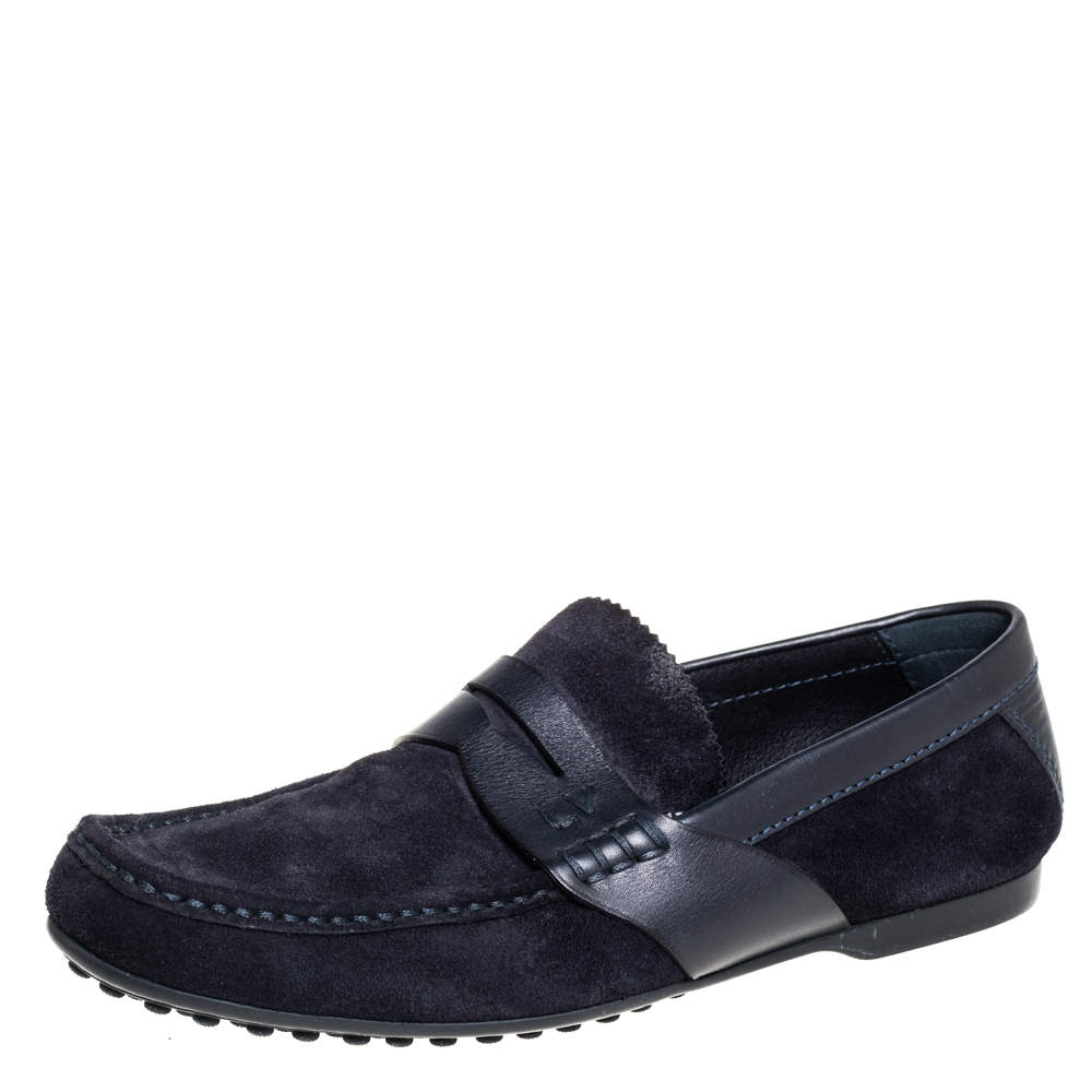Louis Vuitton Navy Blue Suede Penny Loafers Size 41