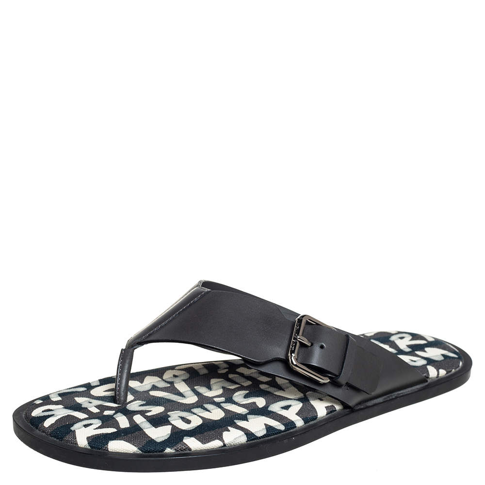 Louis Vuitton Black Leather Thong Sandals Size 41.5
