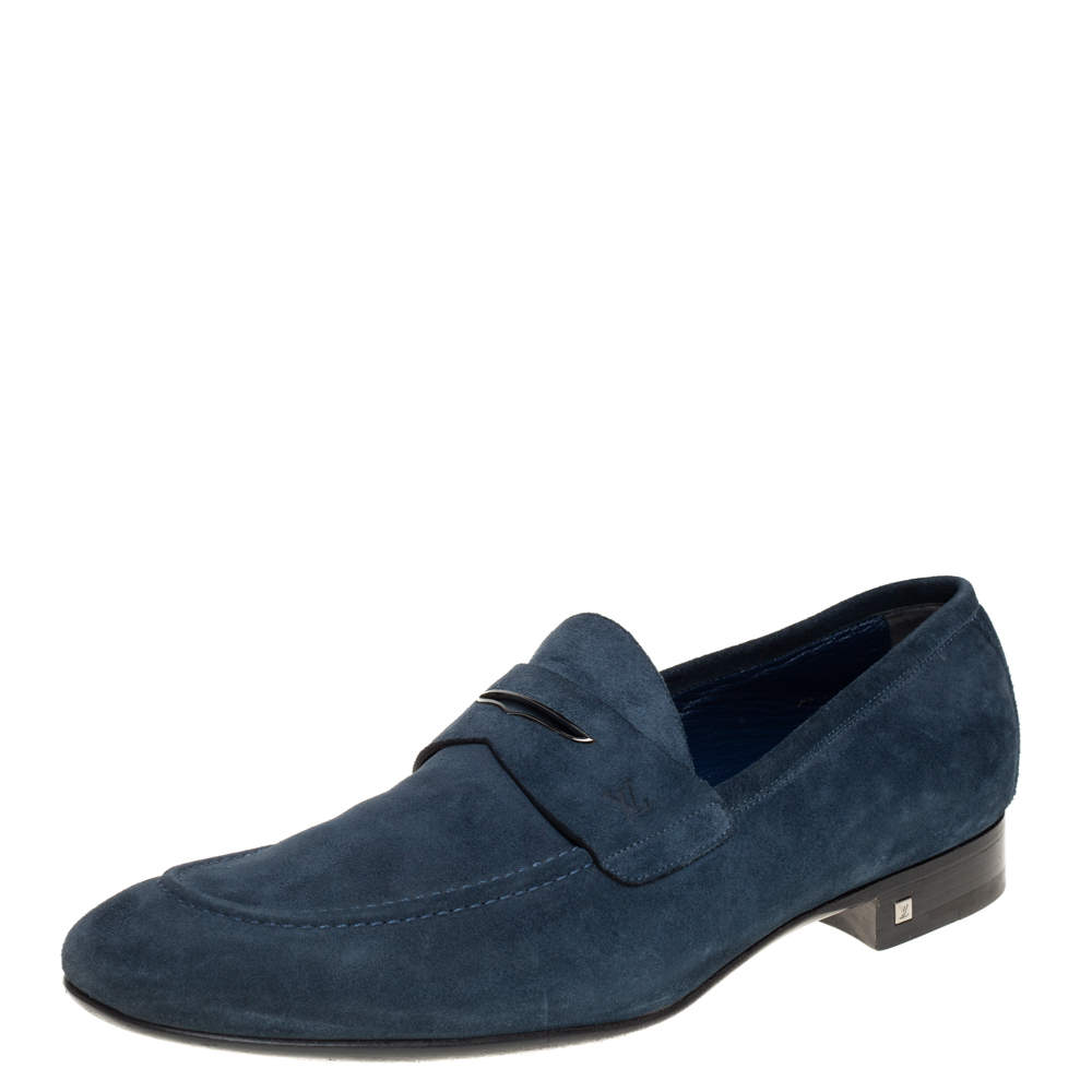 Louis Vuitton Dark Teal Blue Suede Penny Loafers Size 43.5