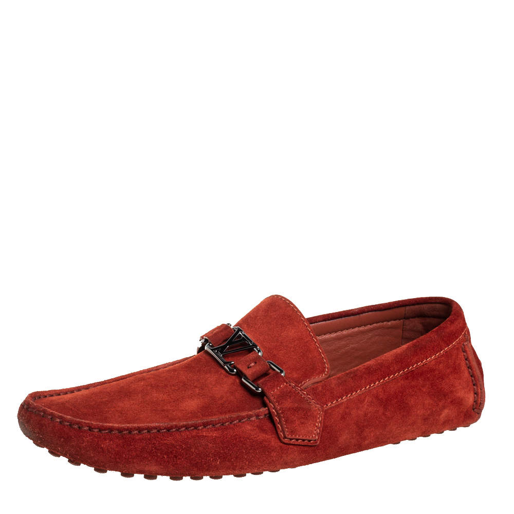 Louis Vuitton Red Suede Hockenheim Slip On Loafers Size 43