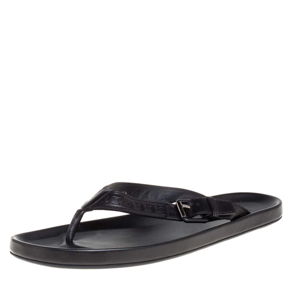 Louis Vuitton Black Monogram Embossed Leather Thong Flat Sandals Size 43.5
