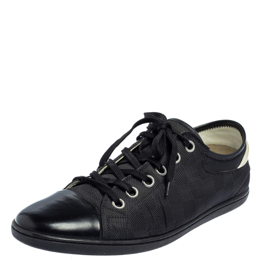 Louis Vuitton Graphite Damier Nylon And Black Leather Cap Toe Low Top Sneakers Size 42.5