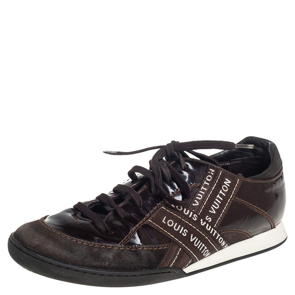 Louis Vuitton Brown Suede And Patent Leather Low Top Sneaker Size 39