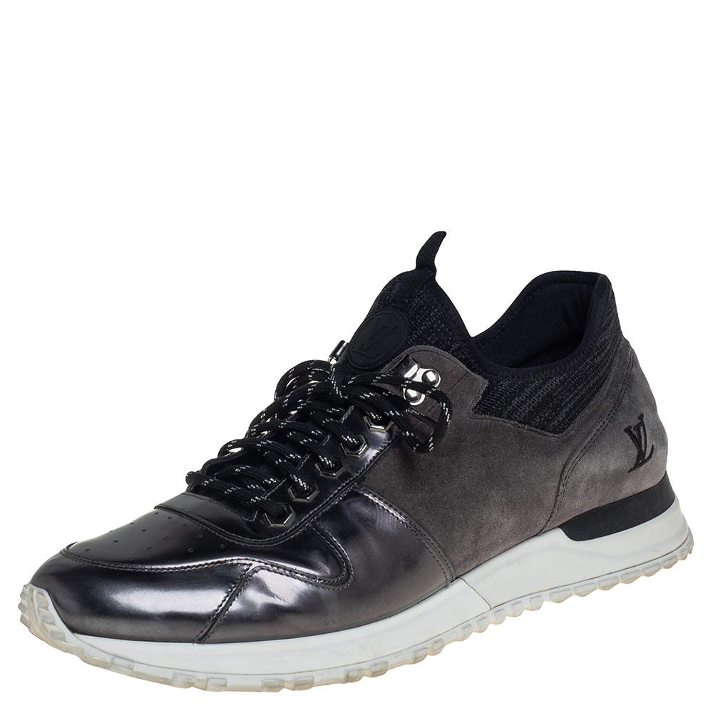 Louis Vuitton Black/Grey Patent Leather And Suede Runner Sneakers Size 42.5