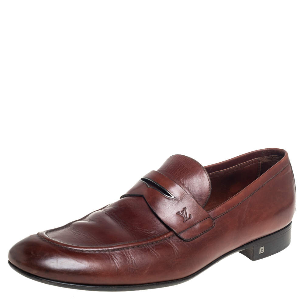 Louis Vuitton Brown Leather Penny Slip On Loafers Size 43.5
