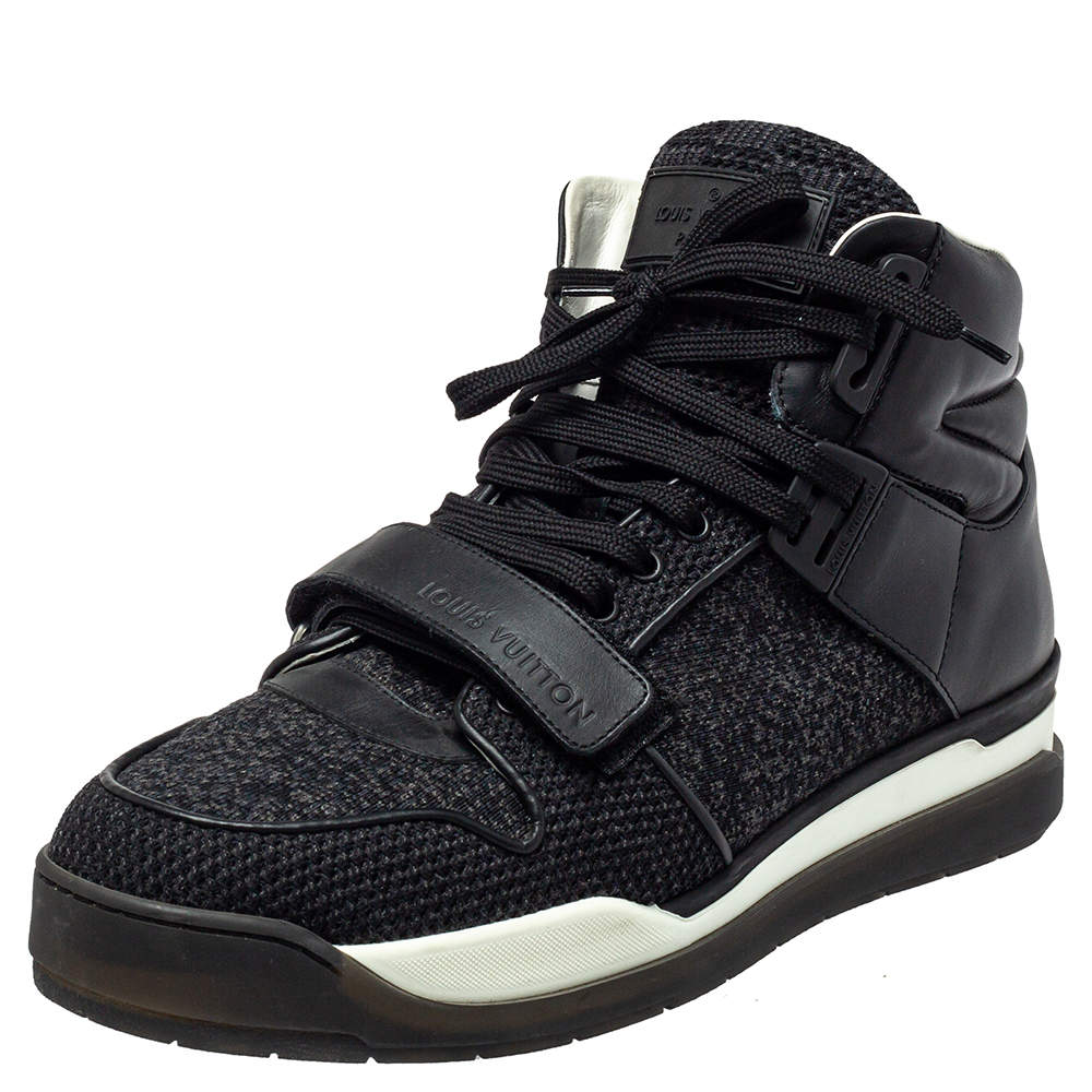 Louis Vuitton Black Knit Fabric And Leather High Top Sneakers Size 41.5