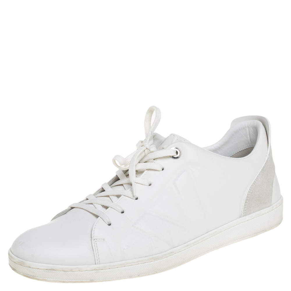 Louis Vuitton White Leather And Suede Low Top Sneakers Size 44.5