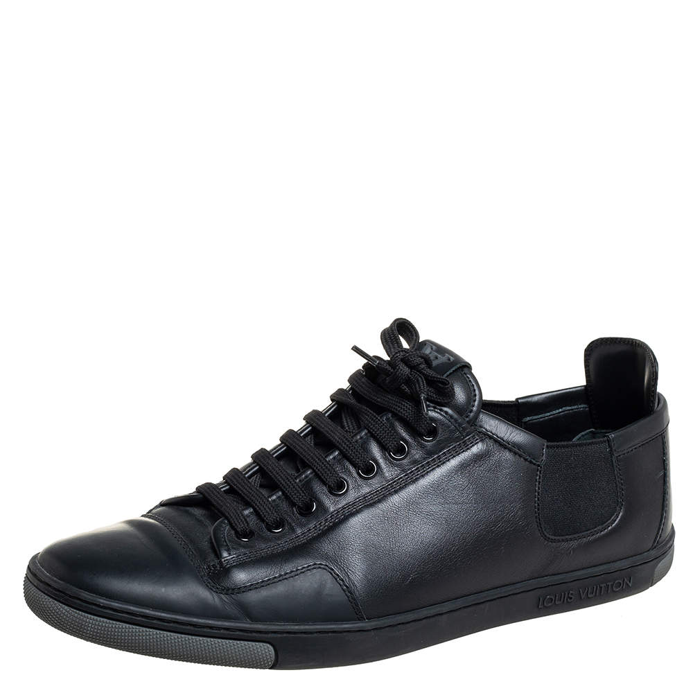 Louis Vuitton Black Leather Slalom Low Top Sneakers Size 42.5