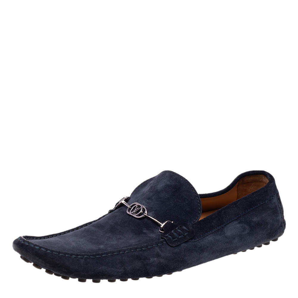 Louis Vuitton Navy Blue Suede Slip On Loafers Size 45