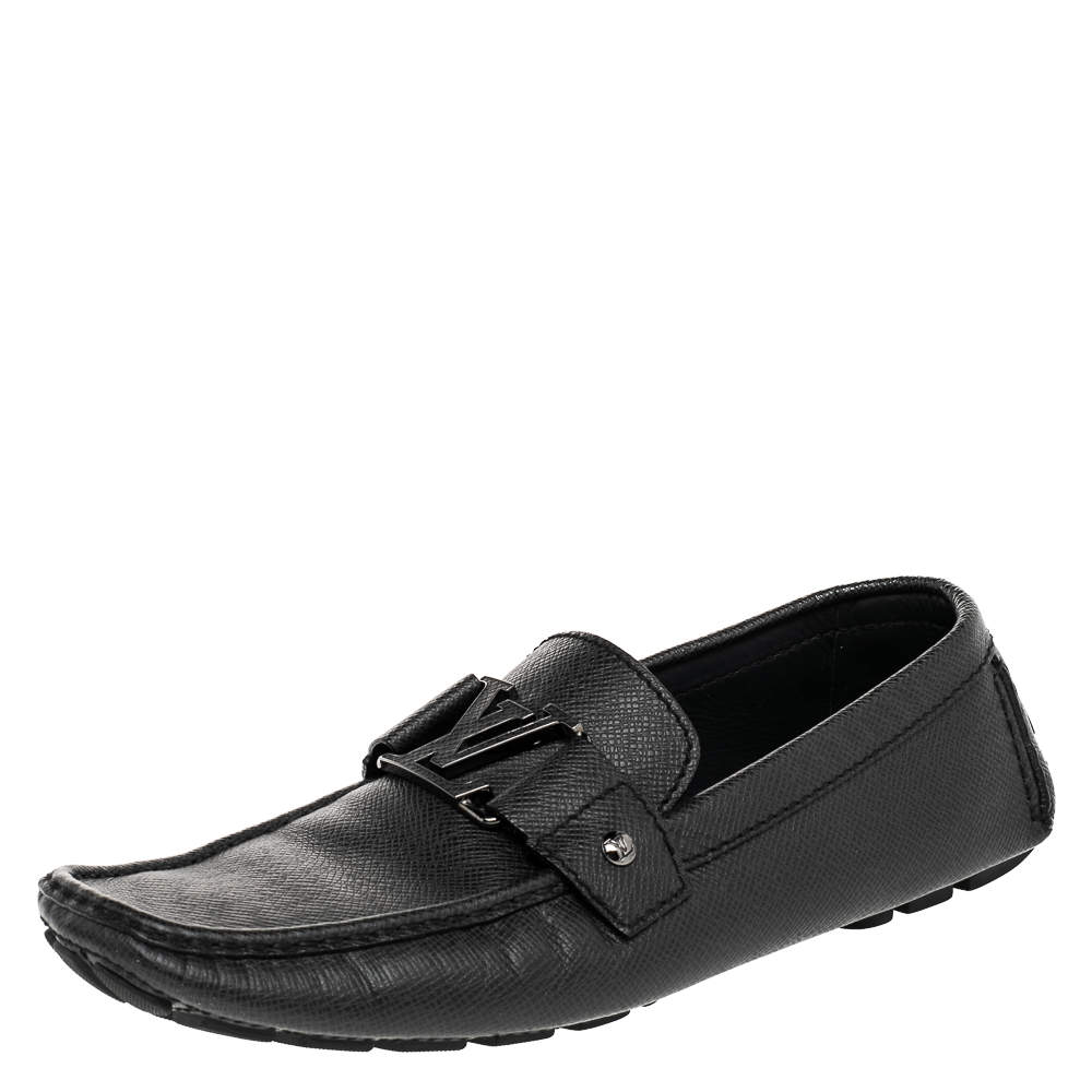 Louis Vuitton Black Leather Monte Carlo Slip On Loafers Size 42