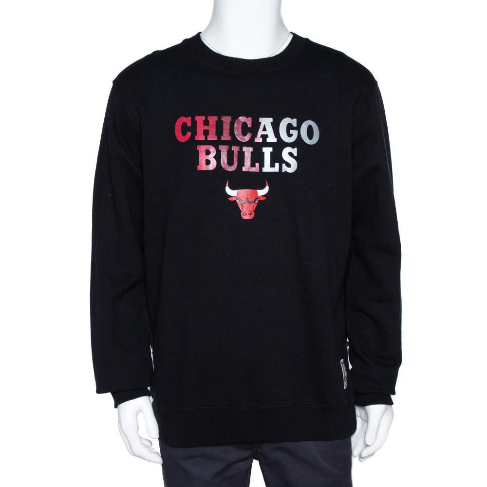 Marcelo Burlon X NBA Black Chicago Bulls Print Cotton Sweatshirt L