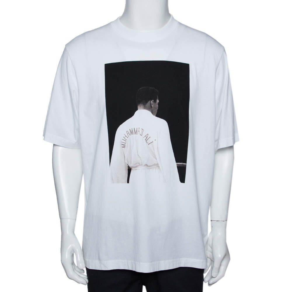 Marcelo Burlon x Muhammad Ali White Graphic Print Cotton T-Shirt M
