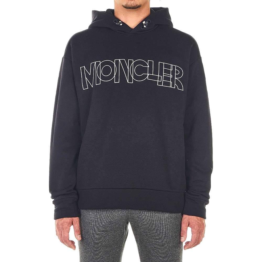 Moncler Black Cotton Blend Sweater Logo Size XL