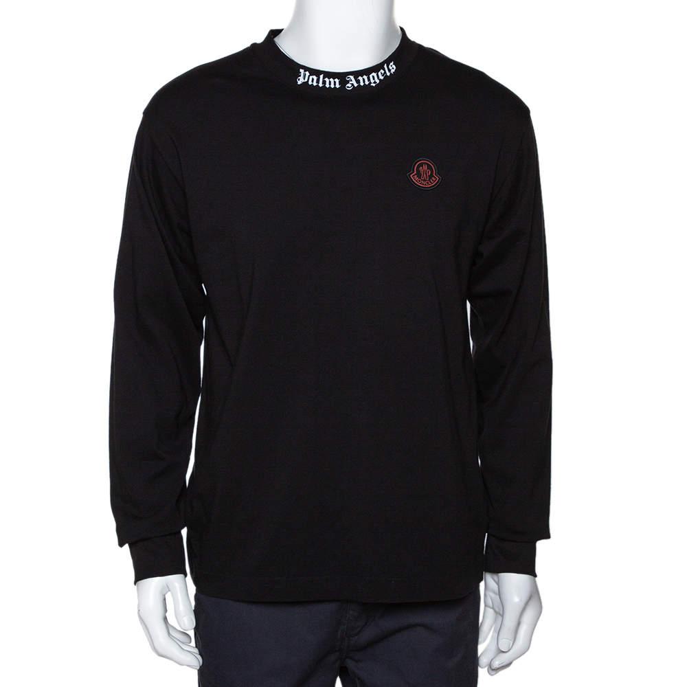 Moncler X Palm Angels Black Cotton Maglia Long Sleeve  T Shirt L