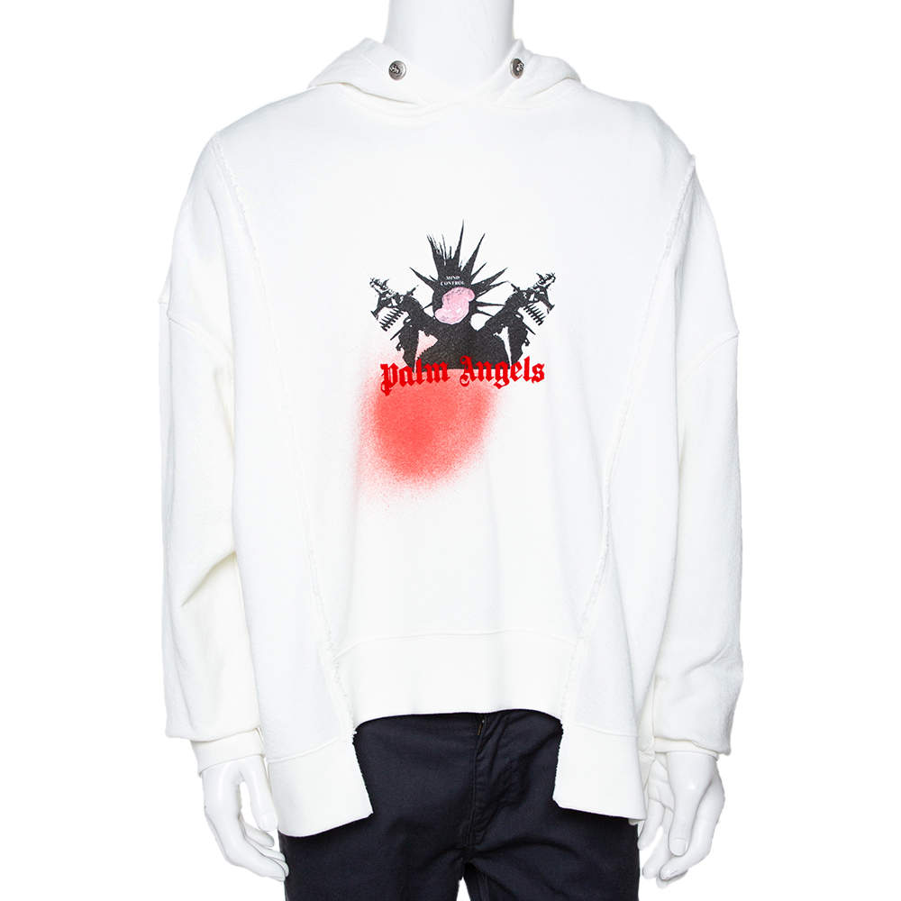 8 Moncler x Palm Angels White Logo Print Cotton Oversized Hoodie S