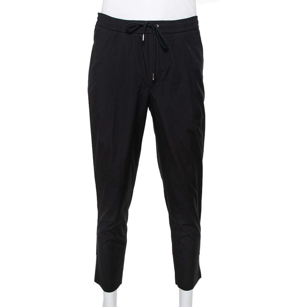 Moncler Black Cotton Drawstring Detail Pants XL