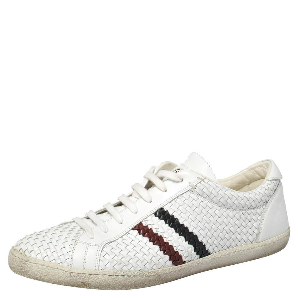 Moncler White Woven Leather Joseph Low Top Sneakers Size 44
