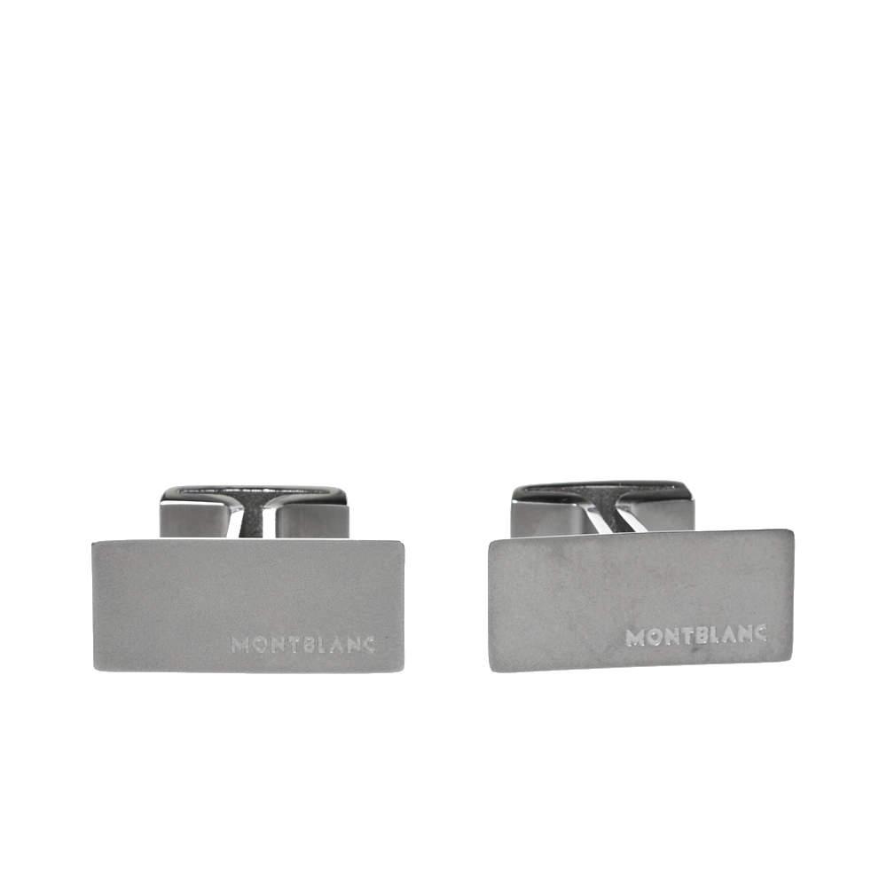 Montblanc Brushed Stainless Steel 'M' Rectangular Cufflinks