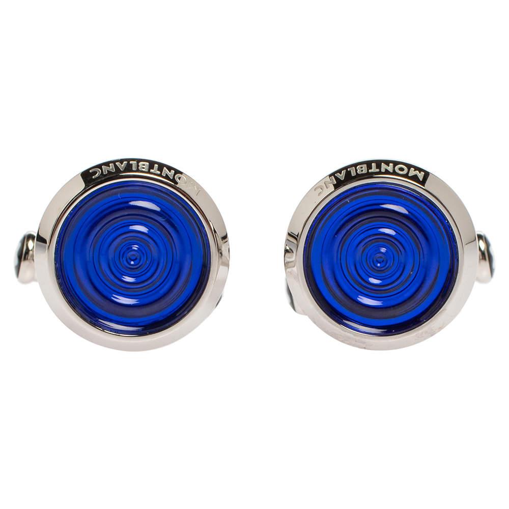 Montblanc Stainless Steel Blue Resin Urban Spirit Round Cufflinks