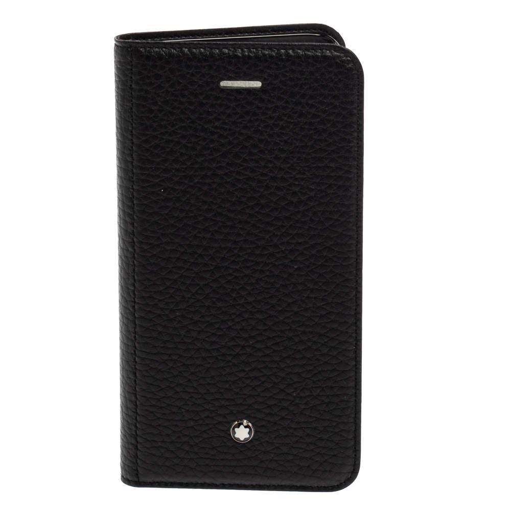 Montblanc Black Leather Sartorial iPhone 8 Flip Case