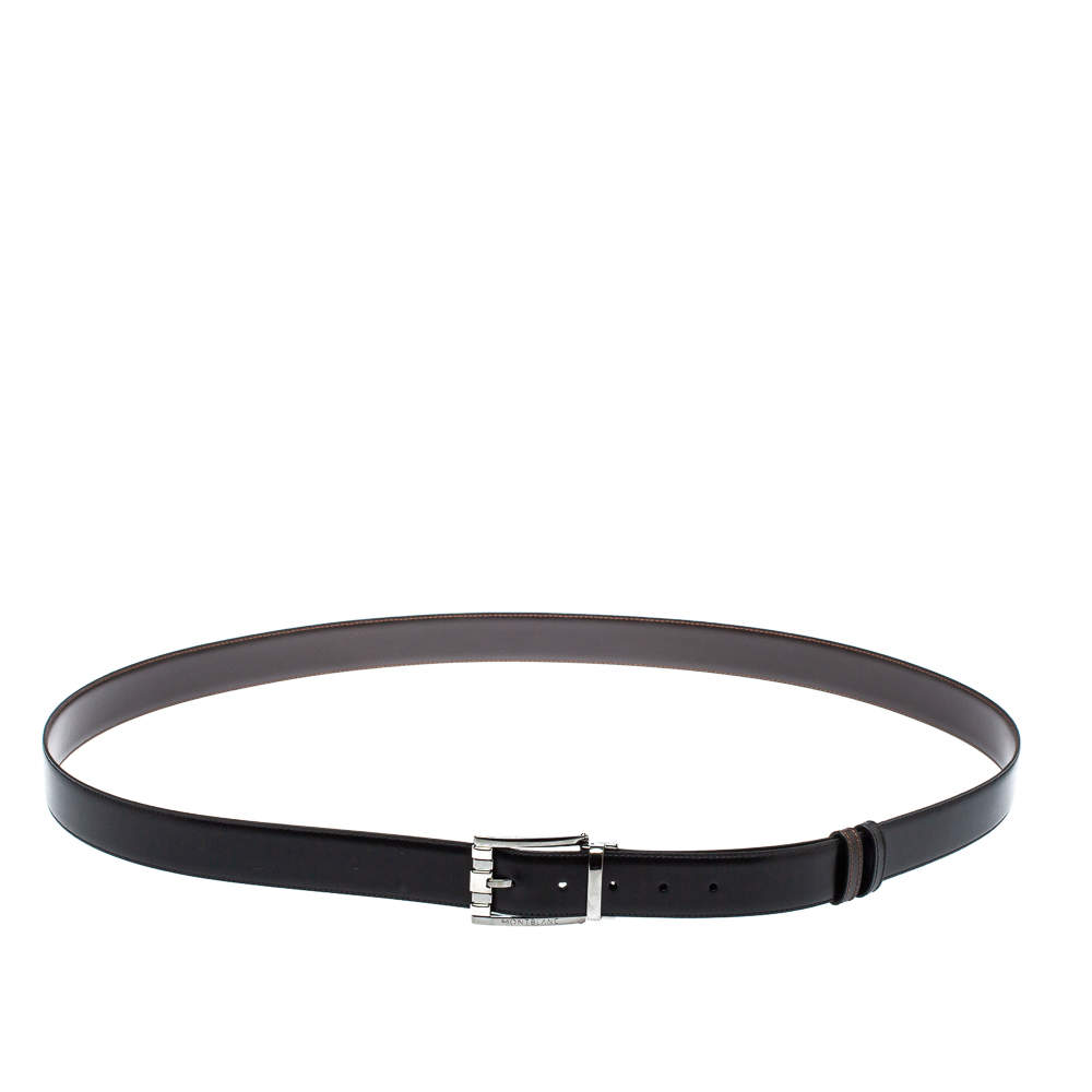 Montblanc Black/Brown Leather Casual Line Reversible Belt 105CM