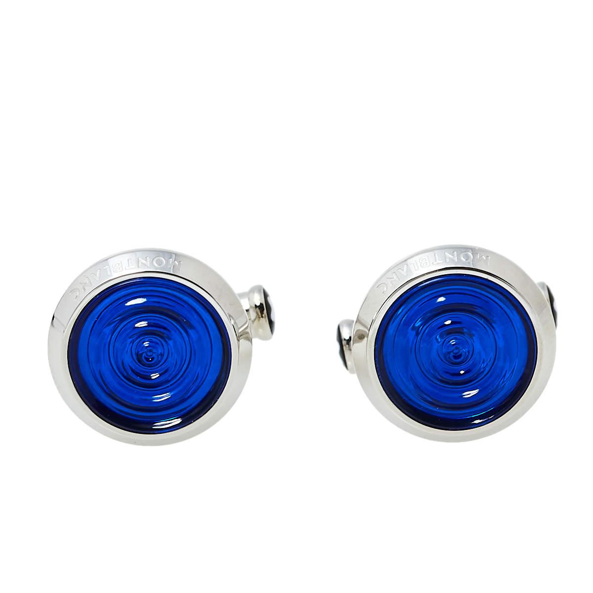 Montblanc Urban Spirit Stainless Steel Blue Resin Round Cufflinks