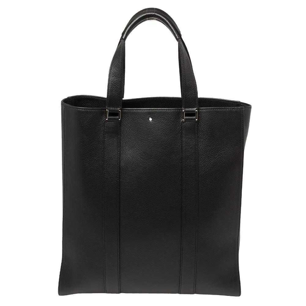 Montblanc Black Soft Grain Leather Meisterstuck Slim Tote