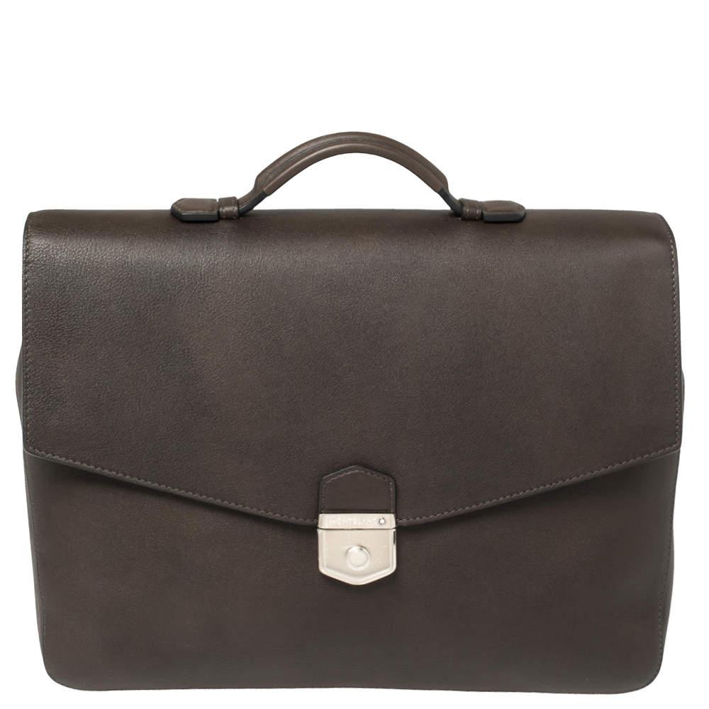 Montblanc Dark Brown Leather Meisterstuck Sfumato Briefcase