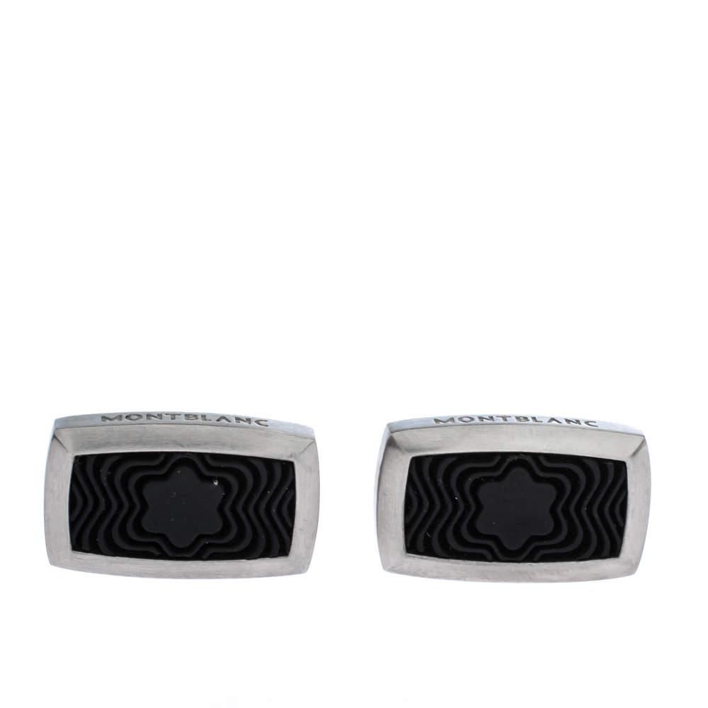 Montblanc Star Black Textured Inlay Silver Tone Rectangular Cufflinks