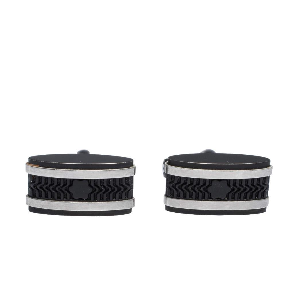 Montblanc Star Black Textured Inlay Two Tone Rectangular Cufflinks