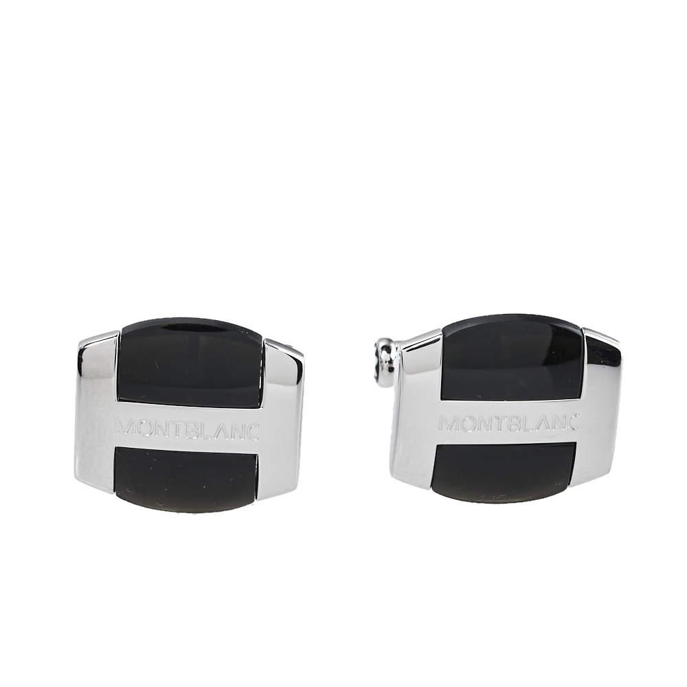 Montblanc Silver & Black Obsidian Oval Cufflinks