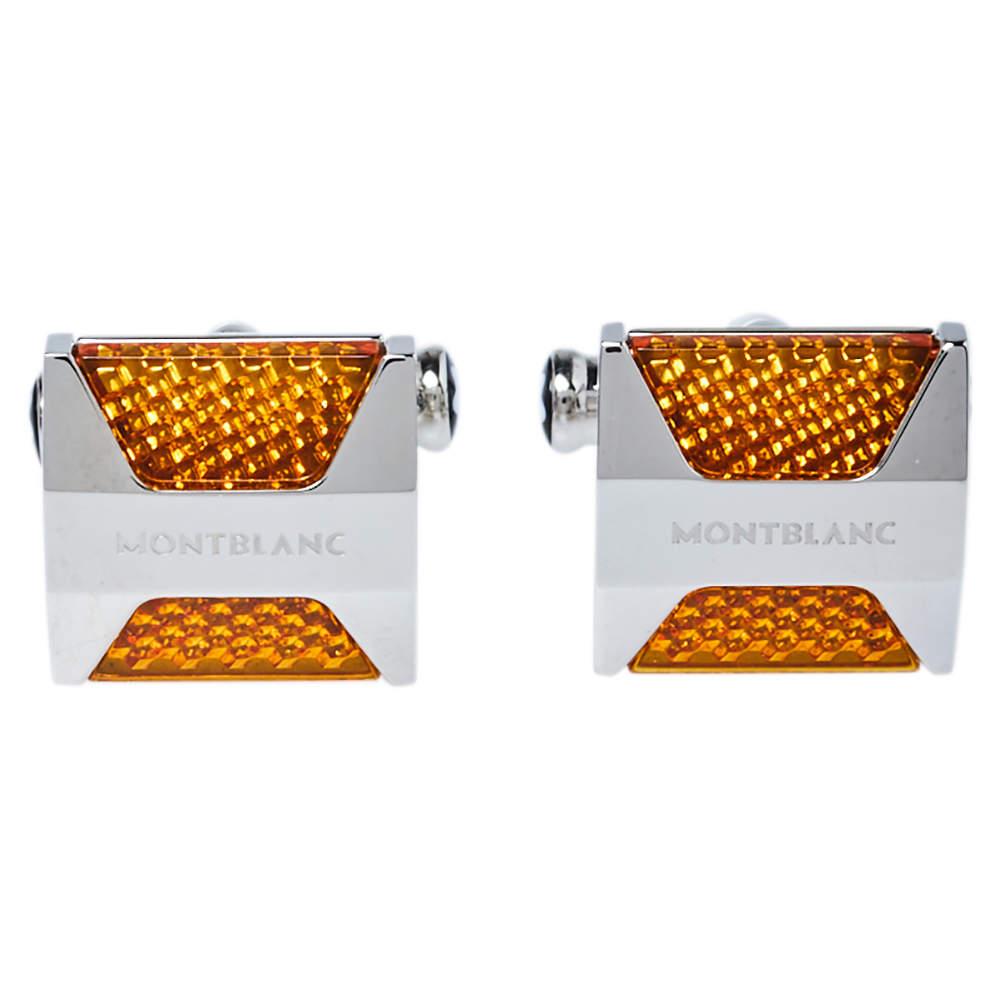 Montblanc Orange Resin Inlay Urban Spirit Cufflinks