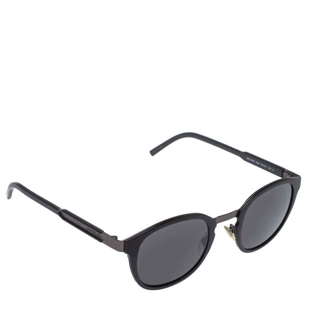 Montblanc Matte Black/ Grey MB590S Round Sunglasses