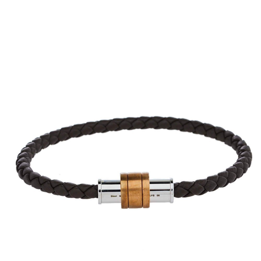 Montblanc 1858 Geosphere Brown Leather Bracelet Size 68