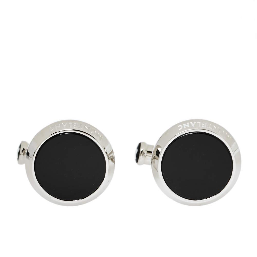 Montblanc Black Onyx Inlay Stainless Steel Meisterstück Cufflinks
