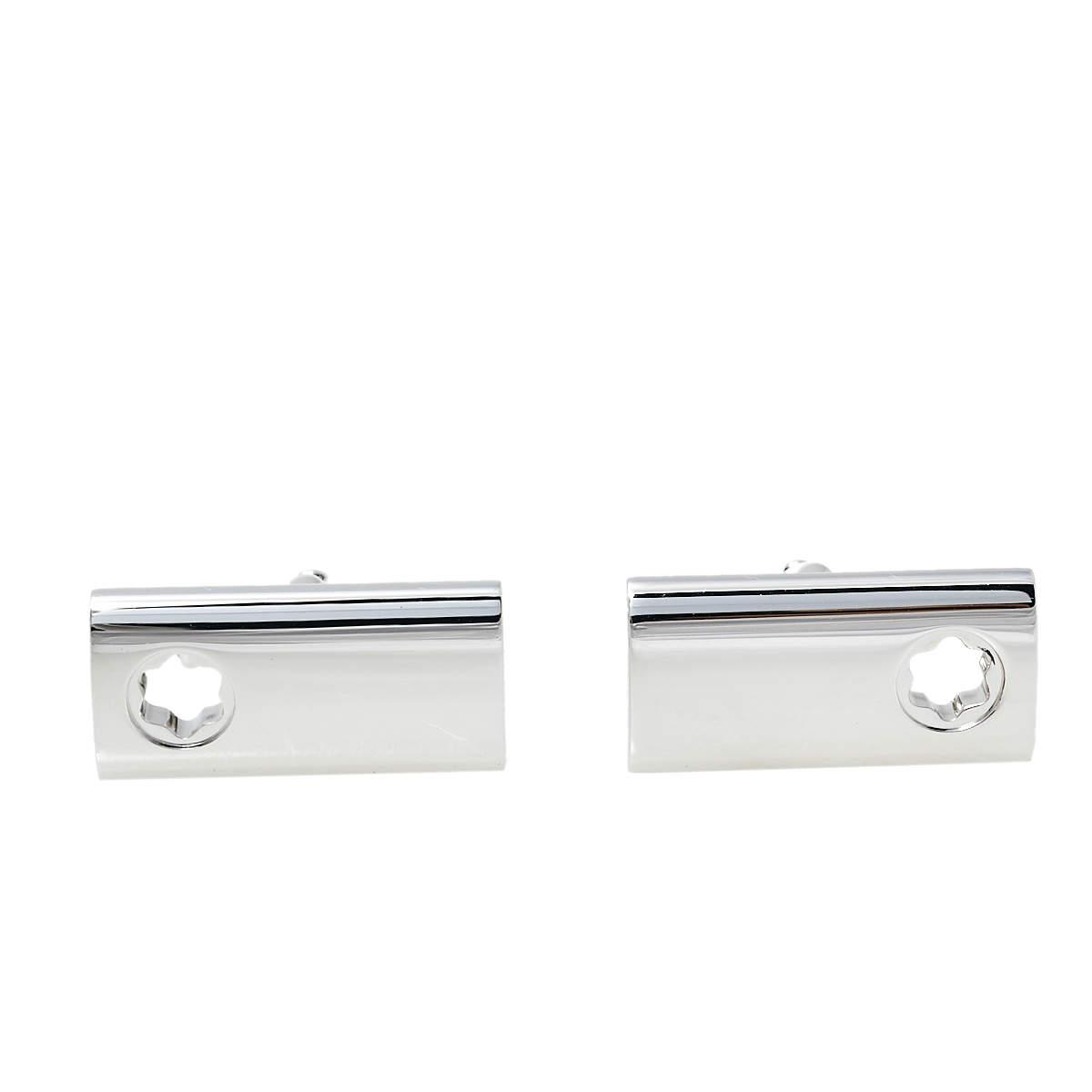 Montblanc Contemporary Sterling Silver Rectangular Star Cut Cufflinks