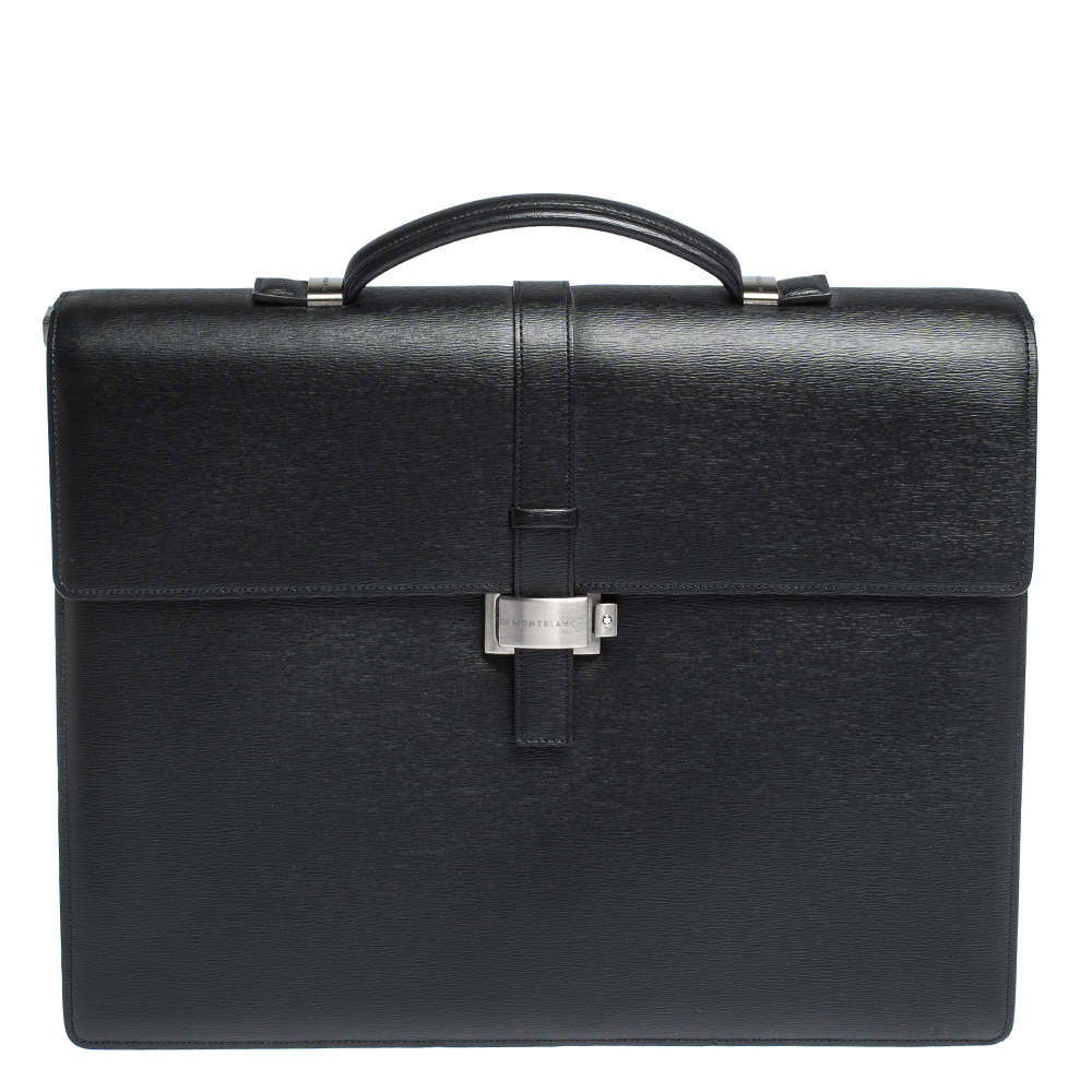 Montblanc Black Leather Westside Double Gusset Briefcase