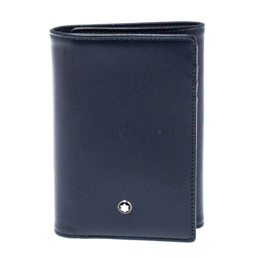 Montblanc Navy Blue Leather Meisterstuck Trifold Wallet